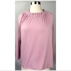 NWT Ann Taylor Size M Ruffle Neck 3/4 Sleeves Top
